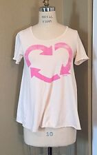 PINK BRAND BY VICTORIA'S SECRET PALE PINK/PEACH RECYCLE THEME MEDIUM GRAPHIC TEE
