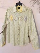 Men's ENERGIE Gold All Over Printed Long Sleeve Snap On Button Shirt Size Large