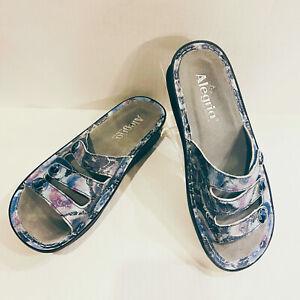 ALEGRIA FIO-243 Blue Floral Leather Three Straps Clog Sandals Women's Sz 36