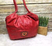 The Sak Red Genuine Leather Boho Purse Shoulder Bag Tote Hobo