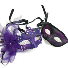 Purple Masquerade Feather Mask Pair Costume Mardi Gras Carnival Flapper Party