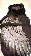 Wintermantel Hundemantel schwarz silber Glitzer M Hunde warm Engelsflügel Engel