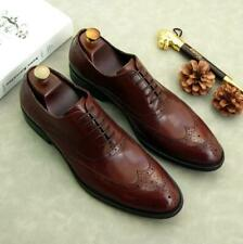 Brogue Mens Real Leather Shoes Wing Tip Carved Business Formal Work Office New L