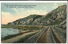 Bluffs Looking North St Joseph Mo Missouri Railroad Train Rr Postcard