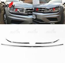 Car Front Engine Hood Lip With Eyelid Trim For VW Tiguan MK2 2017- 2019 S.Steel