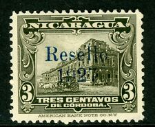 Nicaragua 1927 Cathedral Provisional 3¢  Olive w/Blue Ink Mint V338
