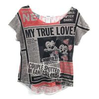 Disney Parks Juniors Size Medium Mickey Minnie Burnout Short Sleeve Shirt Top
