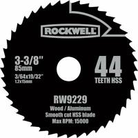 "Rockwell RW9229 3-3/8"" HSS Versacut 44T Circular Saw Blade"