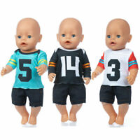 Baby Re-born Doll 17 Inch Doll Clothes New Football Suit Set Fit For 43cm