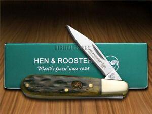 Hen & Rooster Barlow Knife Antique Green Pick Bone Pocket 241-AGB