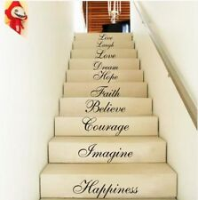 STAIR RISER STICKERS TEN INSPIRATION WORDS WALL QUOTES VINYL DECALS HOME DECOR L