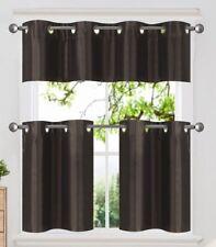 3PC Set Insulated Blackout Grommet Window Curtains Tier Valance Kitchen K7