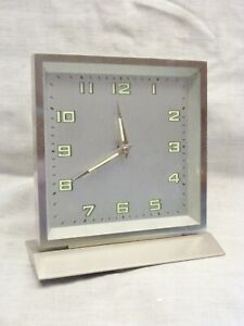 vintage art deco style mantel desk clock silver fluorescent hands jazz age 2002