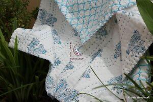 Indian Block Printed Reversible Kantha Baby Crib Sheet,Comforter, Cot Cover Case