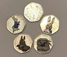 Peter Rabbit 50p Pence Pièces Ensemble cinq couleur Beatrix Potter pièces collector cadeau