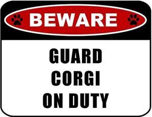 Beware Guard Corgi (v2) on Duty 11.5 inch x 9 inch Laminated Dog Sign