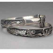 Tibet silver carved DRAGON bracelet bangle - UK seller