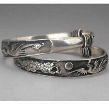 Tibet silver carved DRAGON bracelet bangle - UK seller