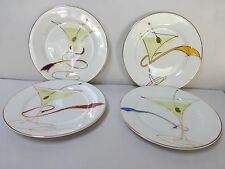 Pier 1 One Martini Olives Ribbon Dessert Plates Dish Set Snack Red Blue Gold