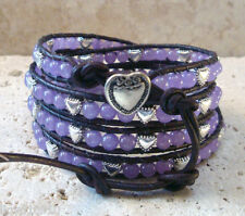 Purple Aventurine & Hearts Gemstone Handmade Beaded Leather Wrap Bracelet