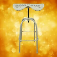 Bar Stool Tractor Seat Iron Rustic White H.85x45cm Present Vintage Decor