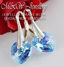 925 Sterling Silver Earrings Crystals From Swarovski® HEART Aquamarine AB 10mm