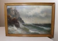 antique original seascape coast nautical realism pastel drawing painting art
