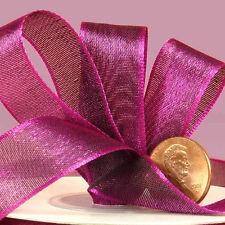 Iridescent Semi-Sheer Satin Ribbon plum color 5/8 inch wide price for 3 yard