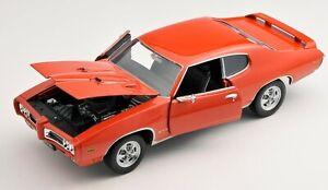 BLITZ VERSAND Pontiac GTO 1969 rot / red 1:24 Welly Modell Auto NEU OVP BOX
