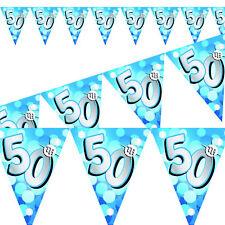 bleu 4m/13FT résistant aux intempéries Guirlande fanions - 50th Birthday