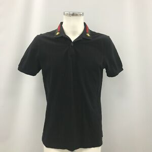 Gucci Polo Top Mens Size XL Black Short Sleeve Cotton Smart Casual 023553
