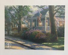 Hometown Pirde- Thomas Kinkade Dealers Postcard- flag, house, flowers, lights