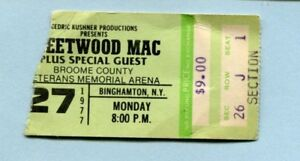 Original 1977 Fleetwood Mac concert ticket stub Binghamton NY Rumours Tour