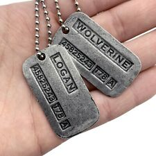 X-men Inspired Wolverine Logan Brushed Steel Double Dog Tag Pendant Necklace