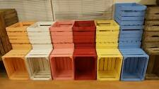 BLUE PAINTED EUROPEAN VINTAGE WOODEN APPLE CRATE BOX SHABBY COTTAGE CHIC