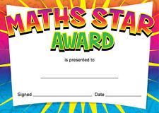 """Premio Star"""" """"matemáticas certificados, profesores, niños, padres - 16 X A6 Tarjetas"""