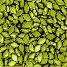 GemDuo 2 Hole 8x5mm Metalust Electric Green Czech Glass Seed Beads 8.5g (P85/12)