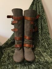 Vivienne Westwood Beige Suede Camel Brown Leather Straps Buckle High Boots 9 40