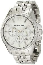 NWT Michael Kors  Pilot Silver-Tone Glitz MK5346 Chrono 44mm Watch