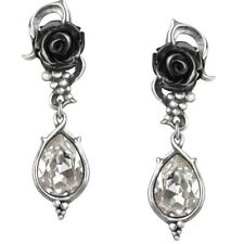 Bacchanal Black Rose Grapes & Clear Crystals Earrings E347 by Alchemy Gothic