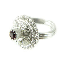 Anello a bottone sardo in argento con pietra semipreziosa rosso scuro centrale