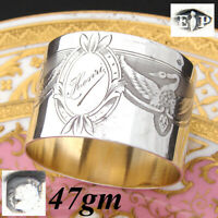 "Fabulous Antique French PUIFORCAT Sterling Silver 2"" Napkin Ring, SWANS, ""Henri"""