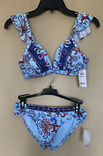 Kenneth Cole Multi Color Blue Two Piece Swim Suit Bikini Women's Size S