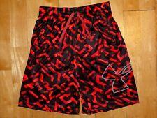 UNDER ARMOUR Youth HEAT GEAR Athletic LOOSE XL Orange w Black Shorts GEOMTRIC