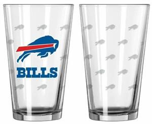 Buffalo Bills Satin Etch 16oz Pint Glass 2 Pack Set