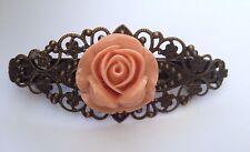 Vintage Rose Barrette Hair Clip accessories peach lace floral Flower Bronze