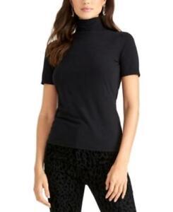 MSRP $55 Rachel Roy Cotton Turtleneck Top Black Size Small