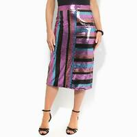Womens Ladies Sequin Pencil Midi Skirt Striped Pattern Party Evening