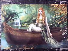 Cris Ortega impresión Pinup Vintage 2008 Fantasía Arte Erótico Hembra Bosque Lago Barco