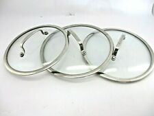 Lot of 3 Cuisinart Replacement Glass Lids 2 Lids are 10in and 1 Lid is 9 1/6in
